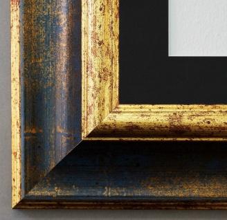 Bilderrahmen Acta in Blau Gold mit Passepartout in Schwarz 6, 7 - NEU alle Größen