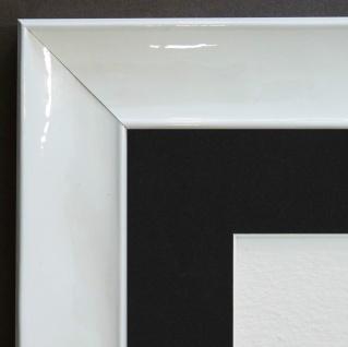 Bilderrahmen Matera Weiss glän. Modern Passepartout in Schwarz 3, 9 - alle Größen