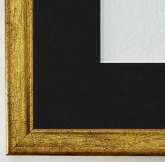 Bilderrahmen Kiel in Gold mit Passepartout in Schwarz 2, 3 Top Qualität