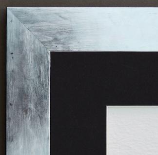 Bilderrahmen Lecce in Silber Shabby Passepartout in Schwarz 3, 9 - alle Größen