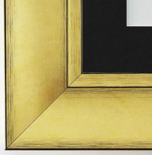 Bilderrahmen Bochum in Gold rmit Passepartout in Schwarz 6, 9 Top Qualität