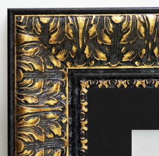 Bilderrahmen Ancona Schwarz Gold Antik Passepartout in Schwarz 7, 5 - alle Größen