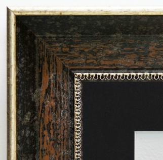 Bilderrahmen Monza dkl. Braun Silber Antik Passepartout Schwarz 6, 7 - jede Größe