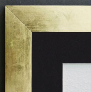 Bilderrahmen Lecce in Gold Shabby Passepartout in Schwarz 3, 9 - alle Größen