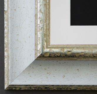 Bilderrahmen Acta Weiss Silber mit Passepartout in Weiss 6, 7 - NEU alle Größen