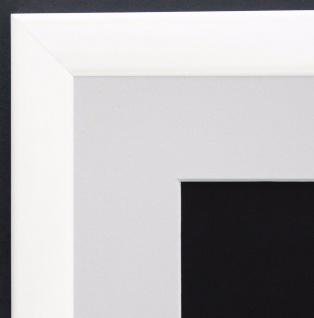 Bilderrahmen Hannover Weiss Lack Modern mit Passepartout Weiss 2, 4 - alle Größen
