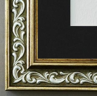 Bilderrahmen Verona Grün Gold mit Passepartout in Schwarz 4, 4 - NEU alle Größen