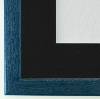 Bilderrahmen Hannover in Blau mit Passepartout in Schwarz 2, 4 Top Qualität