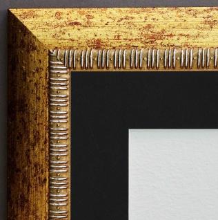 Bilderrahmen Turin in Gold Modern mit Passepartout in Schwarz 4, 0 - alle Größen