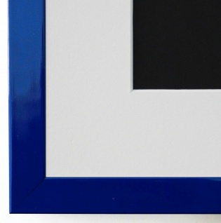 Bilderrahmen Como in Blau Lack mit Passepartout in Weiss 2, 0 - NEU alle Größen