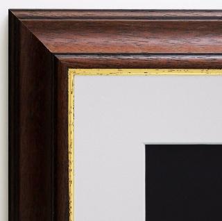 Bilderrahmen Genua Braun Gold Art Deco Passepartout in Weiss 4, 3 - alle Größen