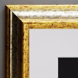 Bilderrahmen Bari Silber Gold Klassisch Passepartout in Weiss 4, 2 - alle Größen