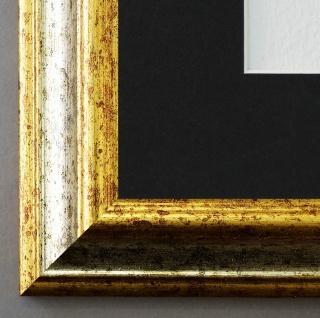 Bilderrahmen Bari Silber Gold mit Passepartout in Schwarz 4, 2 - NEU alle Größen