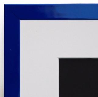 Bilderrahmen Como Blau Lack Modern mit Passepartout in Weiss 2, 0 - alle Größen