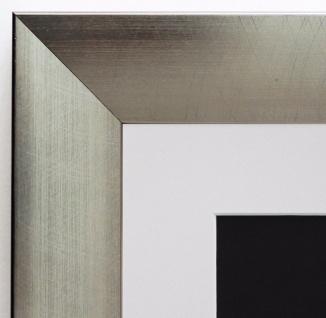 Bilderrahmen Bergamo Silber Modern mit Passepartout in Weiss 4, 0 - alle Größen