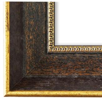 Bilderrahmen dkl. Braun Gold Vintage Retro Holz Monza 6, 7 - NEU alle Größen
