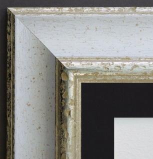 Bilderrahmen Acta Weiss Silber Antik mit Passepartout Schwarz 6, 7 - alle Größen