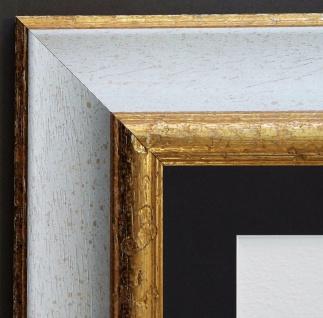Bilderrahmen Acta Weiss Gold Antik mit Passepartout in Schwarz 6, 7 - alle Größen