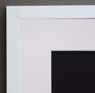 Bilderrahmen Neapel in Weiss Modern mit Passepartout in Weiss 2, 0 - alle Größen