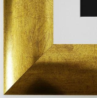 Bilderrahmen Magdeburg in Gold mit Passepartout in Weiss 7, 9 Top Qualität