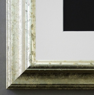 Bilderrahmen Genua in Silber Art Deco Passepartout in Weiss 4, 3 - alle Größen