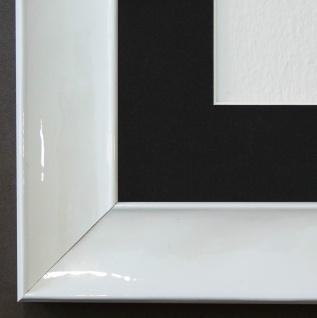 Bilderrahmen Matera Weiss glän. mit Passepartout in Schwarz 3, 9 - NEU jede Größe