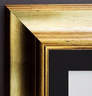 Bilderrahmen Acta in Gold Antik mit Passepartout in Schwarz 6, 7 - alle Größen