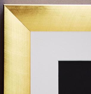 Bilderrahmen Bergamo in Gold Modern mit Passepartout in Weiss 4, 0 - alle Größen