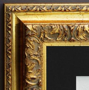 Bilderrahmen Rom in Gold Barock mit Passepartout in Schwarz 6, 5 - alle Größen