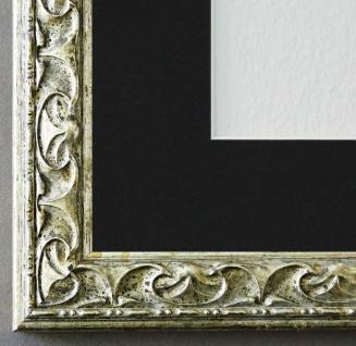 Bilderrahmen Mantova in Silber mit Passepartout in Schwarz 3, 1 - NEU alle Größen