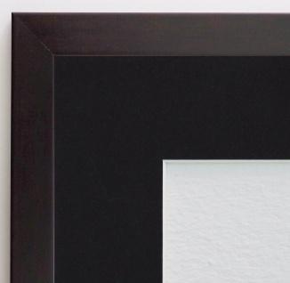 Bilderrahmen Neapel Braun Modern mit Passepartout in Schwarz 2, 0 - alle Größen