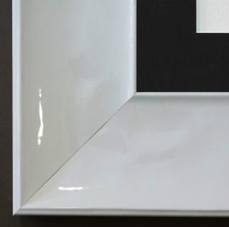 Bilderrahmen Taranto Weiss Lack mit Passepartout in Schwarz 7, 5 - NEU jede Größe