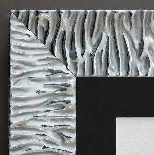Bilderrahmen Bologna Modern Silber mit Passepartout in Schwarz 6, 2 - alle Größen