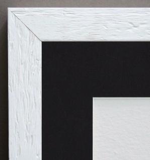 Bilderrahmen Rimini Weiss Landhaus mit Passepartout in Schwarz 3, 0 - alle Größen