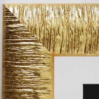 Bilderrahmen Rostock in Gold Modern mit Passepartout in Weiss 7, 2 - alle Größen