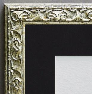Bilderrahmen Mantova Silber Antik mit Passepartout in Schwarz 3, 1 - alle Größen