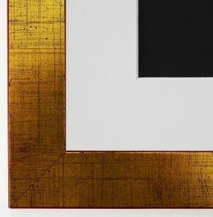 Bilderrahmen Leverkusen in Gold mit Passepartout in Weiss 3, 3 Top Qualität