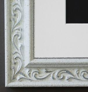 Bilderrahmen Verona Weiss Silber mit Passepartout in Weiss 4, 4 - NEU alle Größen