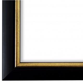 Bilderrahmen Schwarz Gold Holz Perugia 3, 0 - DIN A2 - DIN A3 - DIN A4 - DIN A5