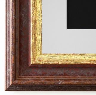 Bilderrahmen Trento Braun Gold mit Passepartout in Weiss 5, 4 - NEU alle Größen