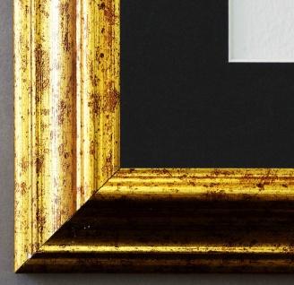 Bilderrahmen Bari in Gold mit Passepartout in Schwarz 4, 2 Top Qualität