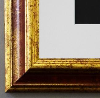 Bilderrahmen Bari in Rot Gold mit Passepartout in Weiss 4, 2 - NEU alle Größen