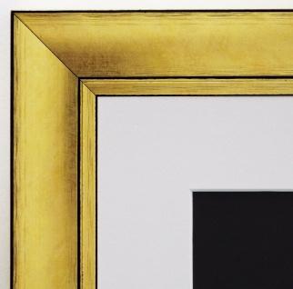 Bilderrahmen Dortmund in Gold Antik mit Passepartout in Weiss 4, 2 - alle Größen