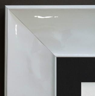 Bilderrahmen Taranto Weiss Lack Modern Passepartout in Schwarz 7, 5 - alle Größen