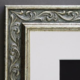 Bilderrahmen Verona in Silber Barock mit Passepartout in Weiss 4, 4 - alle Größen