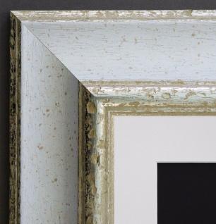 Bilderrahmen Acta Weiss Silber Antik mit Passepartout in Weiss 6, 7 - alle Größen