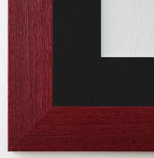 Bilderrahmen Florenz dkl. Rot mit Passepartout in Schwarz 4, 0 - NEU alle Größen