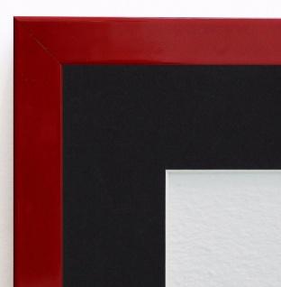 Bilderrahmen Como in Rot Lack Modern Passepartout in Schwarz 2, 0 - alle Größen