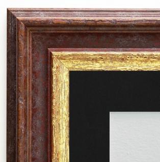 Bilderrahmen Trento Braun Gold Antik Passepartout in Schwarz 5, 4 - alle Größen