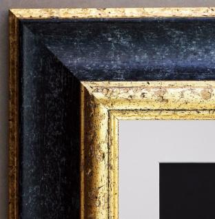 Bilderrahmen Acta Schwarz Gold Antik mit Passepartout in Weiss 6, 7 - alle Größen